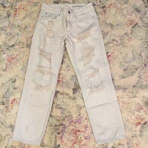 Zara Woman White Straight Leg Ripped Jeans Size 2